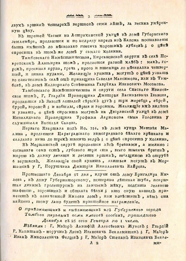 Тамбовские известия, 1788. № 1