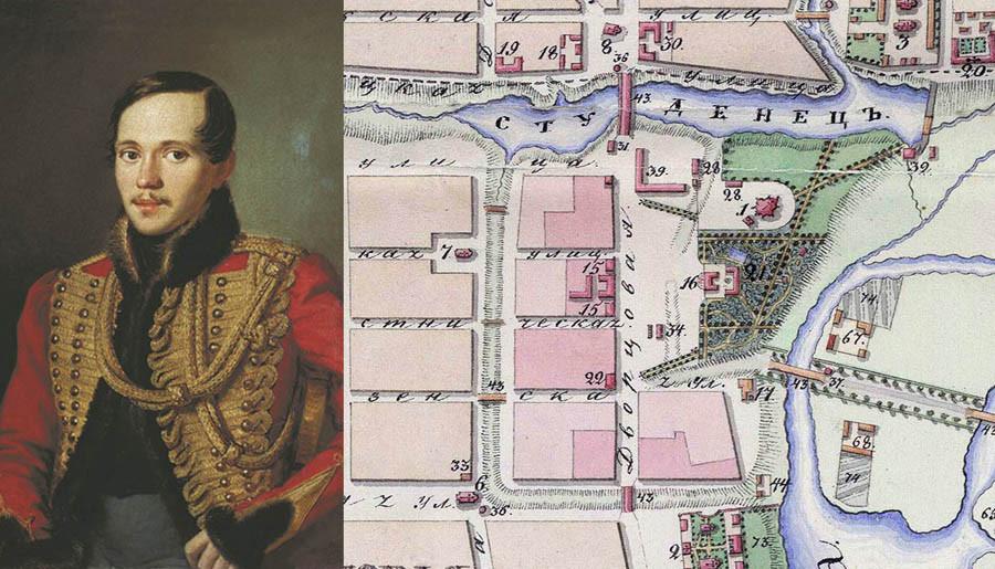 Портрет М.Ю. Лермонтова и план города Тамбова 1832 г.