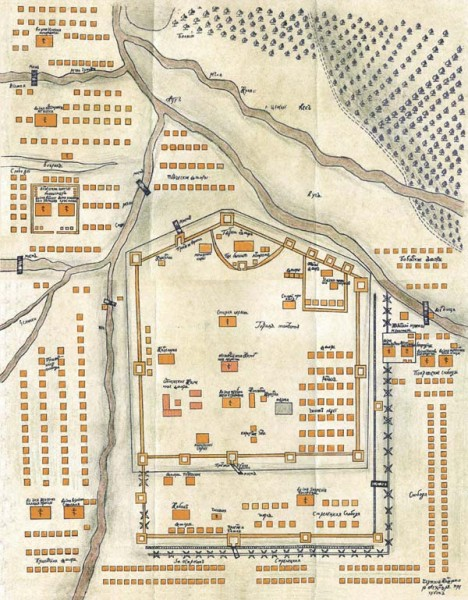 Карта Тамбова 1710-х гг.