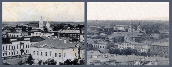 Вид на Знаменскую церковь с колокольни Казанского монастыря в Тамбове. Фотографии конца XIX и начала XX в.