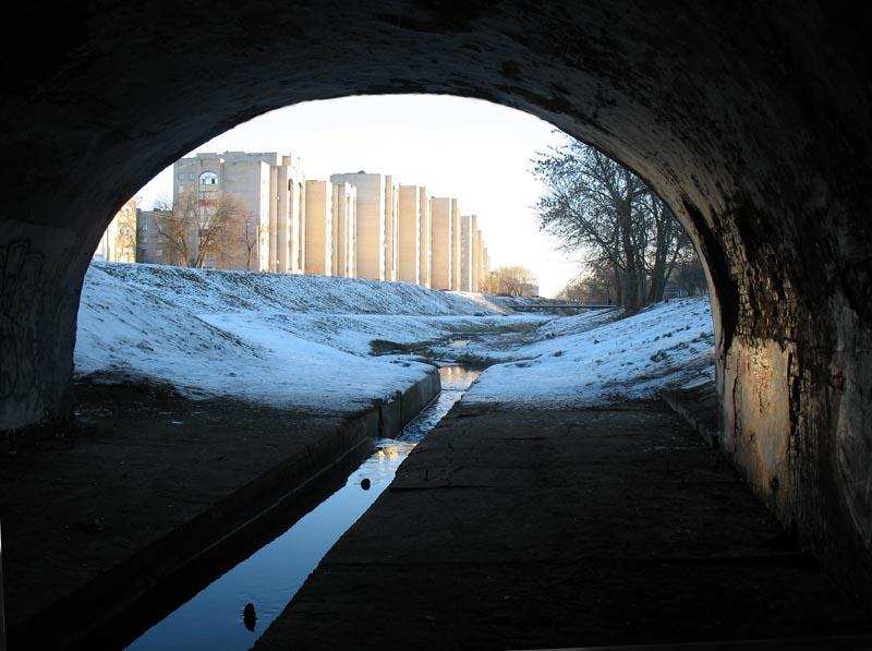Арка Державинского моста в Тамбове. Фото 29 декабря 2012 г.