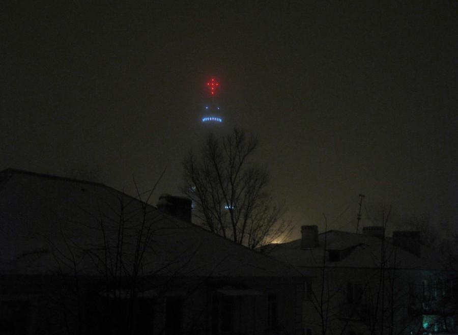 Вид из окна: Крещенская ночь. Фото 19 января 2013 г.