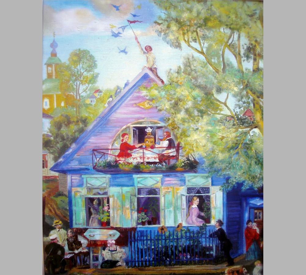 Борис Кустодиев. Голубой домик. 1920