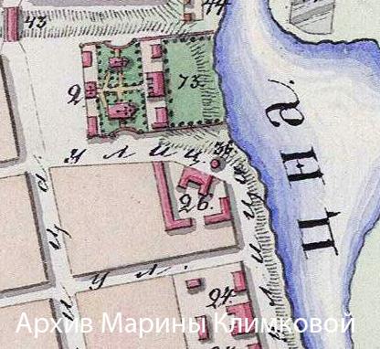 Фрагмент плана города Тамбова 1832 года. № 26 - архиерейский конюшенный двор