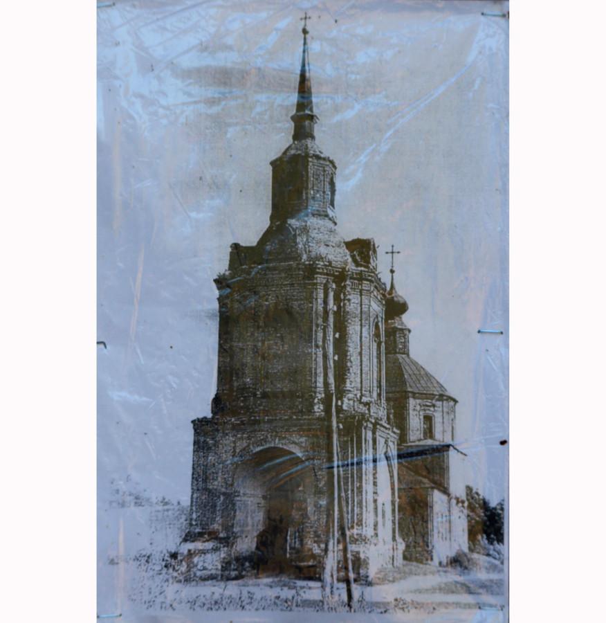 Тихвинская церковь с колокольней села Канищево. Фото советского времени (?)