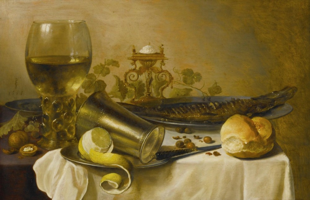 Питер Клас. Натюрморт с рёмером, солью, рыбой и хлебом. XVII век