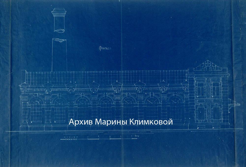 Чертеж фасада здания электростанции в городе Тамбове