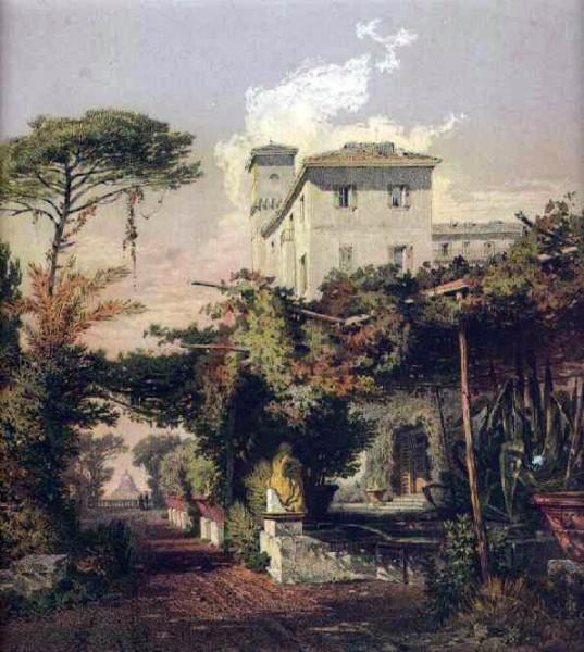 Окрестности Неаполя. Цветная литография. 19 в.