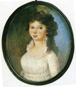 Неизвестный художник. Портрет Александры Федоровны Боратынской. Миниатюра. 1797 г