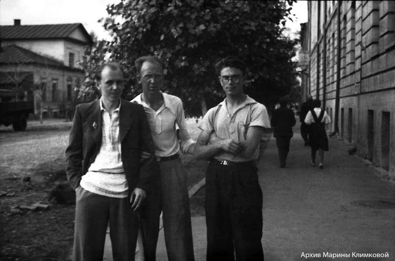 Неизвестный, Н.А. Никифоров, В.Г. Шпильчин. Фото второй половины 1940-х годов