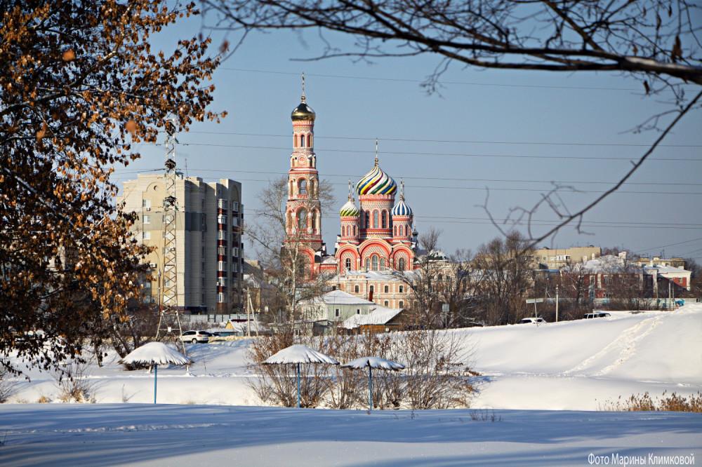 Тамбовский Вознесенский монастырь. Вид из-за реки. Фото 17 января 2021 года