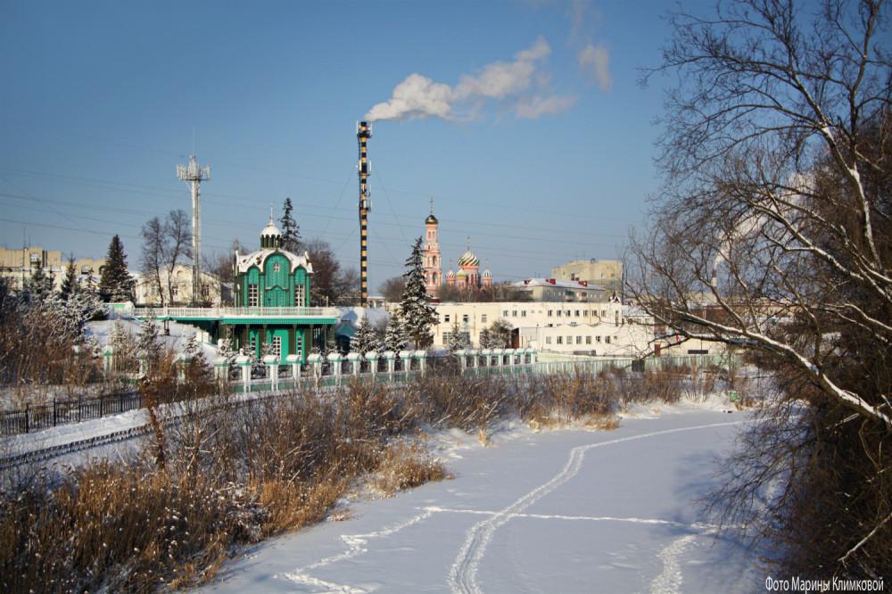 Тамбовский Вознесенский монастырь. Вид с моста в городском саду. Фото 17 января 2021 года