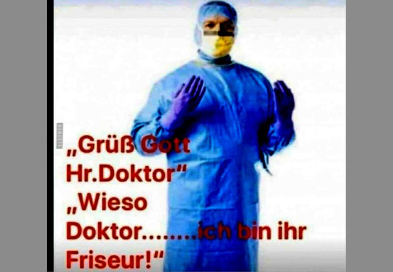— Здравсвуйте, господин доктор! — Какой «господин доктор»? Я ваш парикмахер!