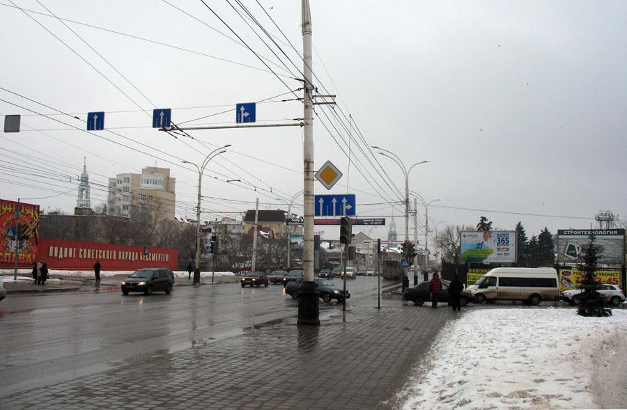 Улица Советская в Тамбове около Державинского моста. Фото 2 февраля 2013 г.