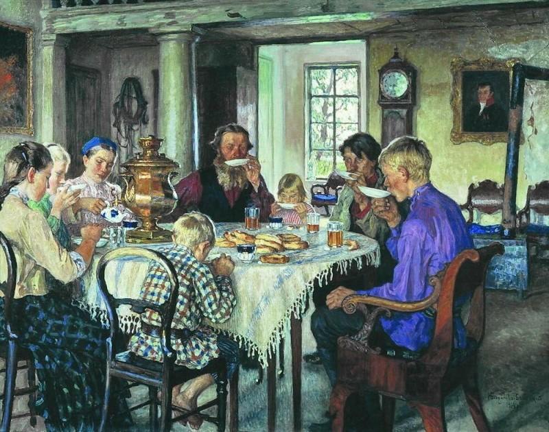 Николай Петрович Богданов-Бельский.«Новые хозяева. Чаепитие». 1913 год.