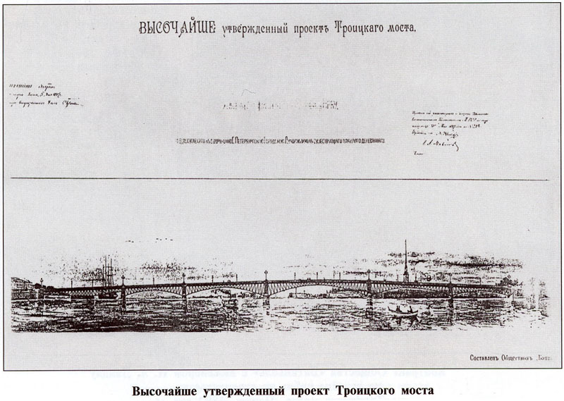 Проект Троицкого моста в Петербурге