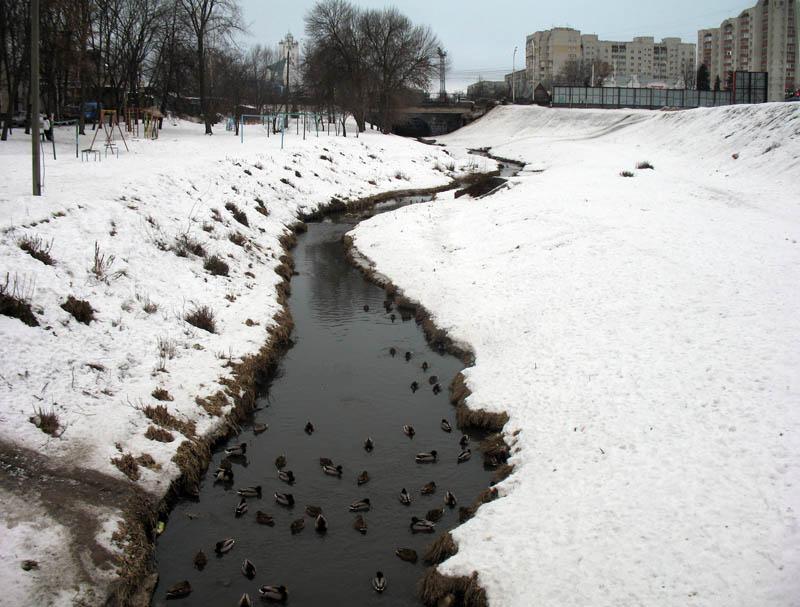 Речка Студенец. Вид на Державинский мост издали. Тамбов. Фото 8 февраля 2013 г.