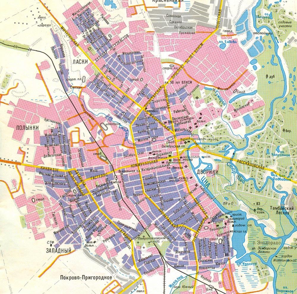Карта города Тамбова