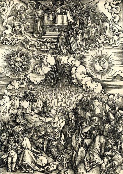 А. Дюрер. Снятие пятой и шестой печатей. Из серии гравюр Апокалипсис. 1696-1698.
