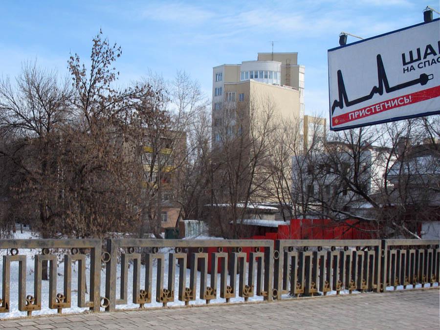 Пешеходная часть Державинского моста, Тамбов. Фото 17 февраля 2013 г.