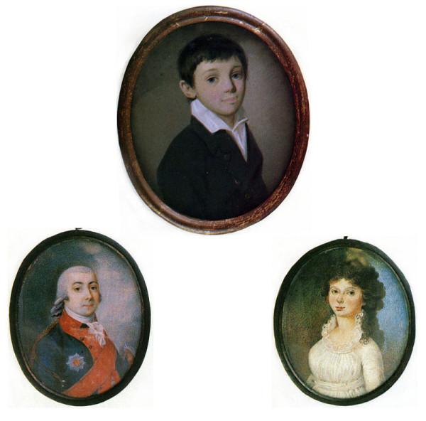 Портреты Евгения Боратынского и его родителей