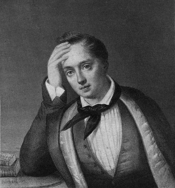 Е. Боратынский в начале 1820-х гг. Литография Ф. Шевалье