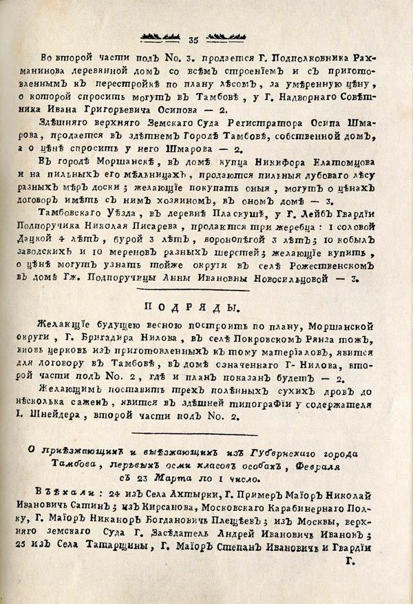Тамбовские известия,  1788. №9