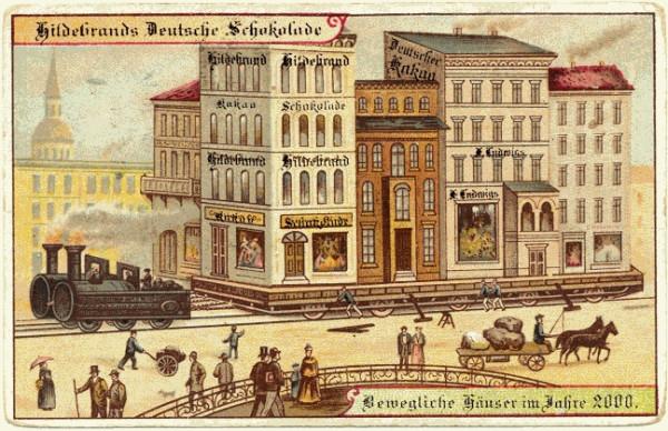 Передвижение здания «Гильдебранд» с помощью паровой тяги. Германская карточка 1900 года