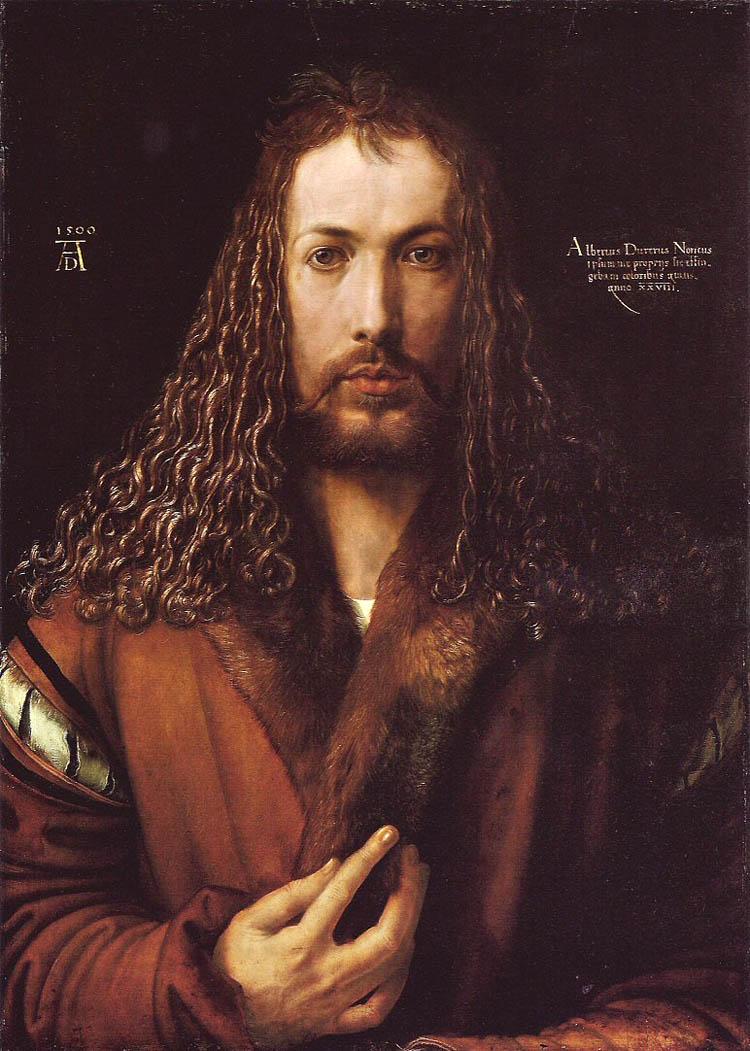 Автопортрет А. Дюрера. 1500. Напоминает образ Христа