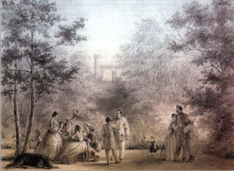 Э.А.Дмитриев-Мамонов. У грота в парке Мары. Ок. 1861 г.