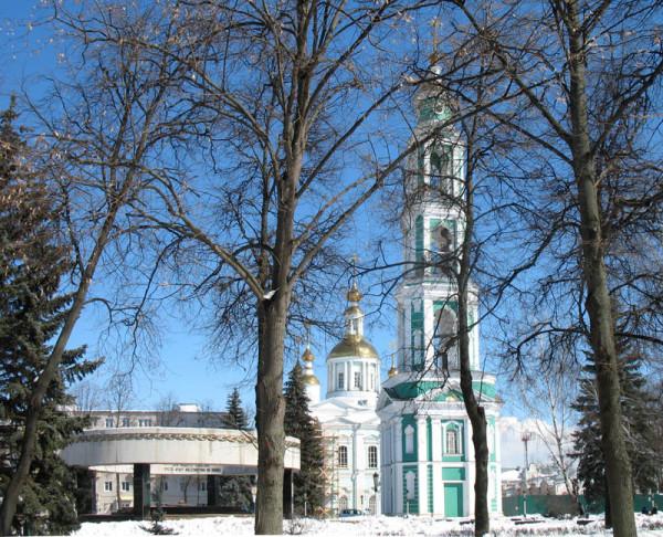 Спасо-Преображенский собор с новой колокольней в Тамбове