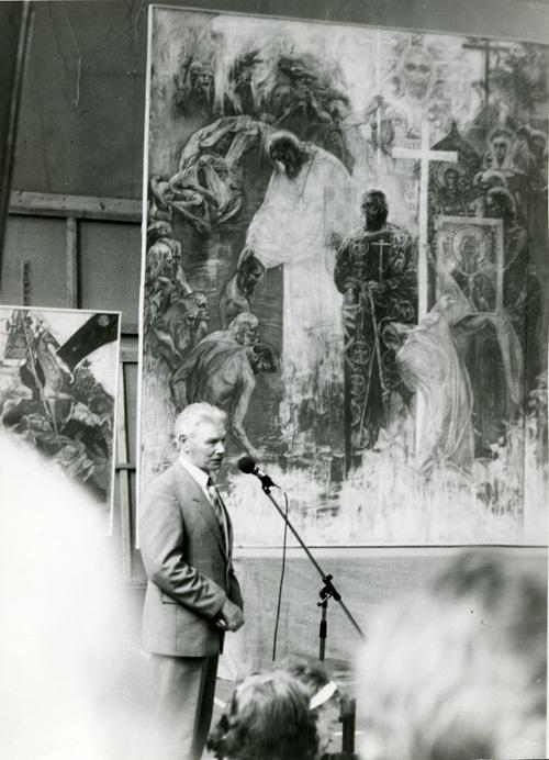 Н.Н. Третьяков на защите дипломов художников. Фото 1990-х гг.