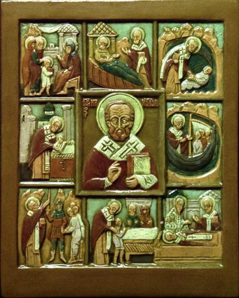 Св. Никола Великорецкий. Керамическая икона А. Климкова. 1996