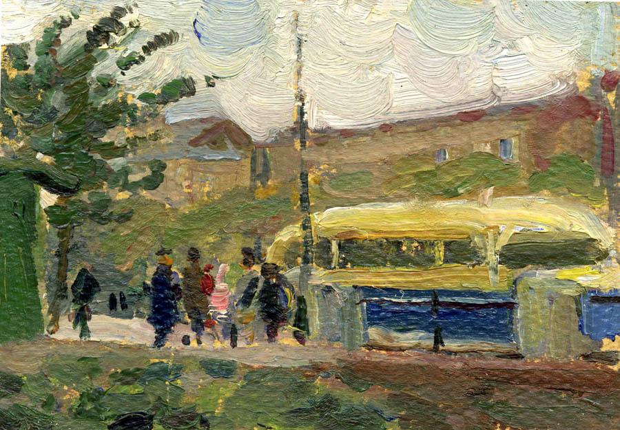 Е.В. Рябинский. У остановки. Тамбов. 1951