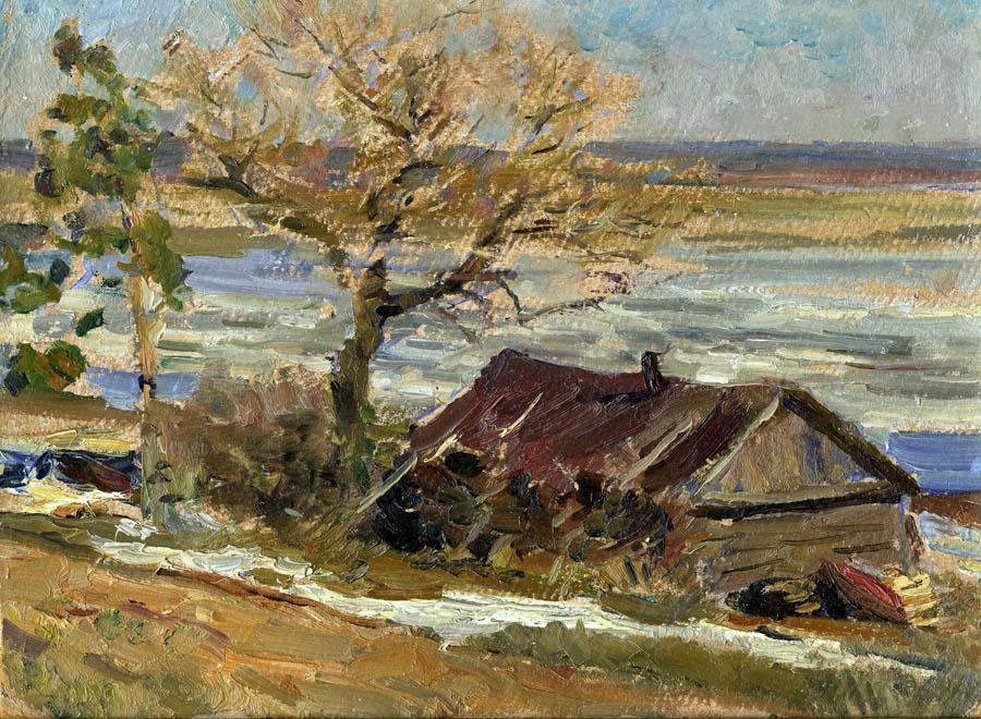 Е.В. Рябинский. На пристани Тамбова. 1952