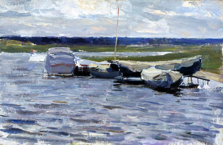 Е.В. Рябинский. Лодки на Цне. 1954