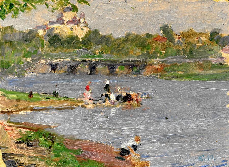 Е.В. Рябинский. На реке Цне. 1953