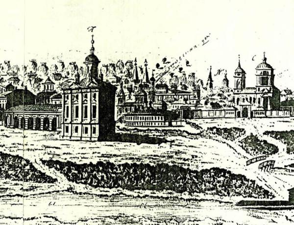 Вид губернского города Тамбова от восточной стороны. Фрагмент гравюры В. Усачева. 1799.