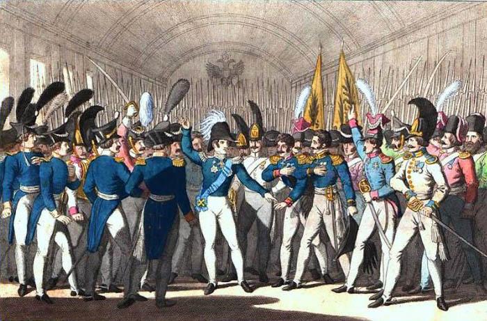Г.Б. Вундер. Николай I объявляет о восстании в Польше. 1830