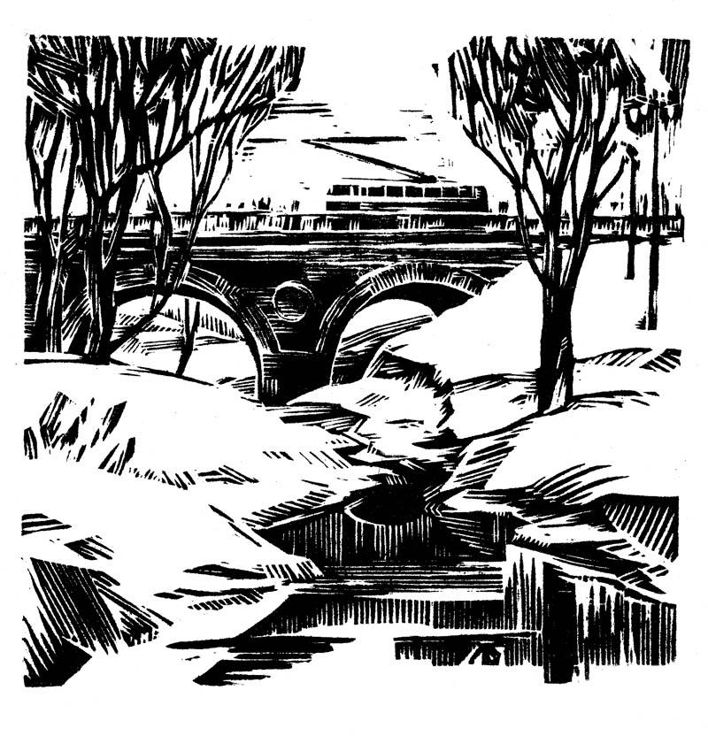 Мост через р. Студенец в Тамбове. Гравюра А.И. Левшина. 1960-е гг.