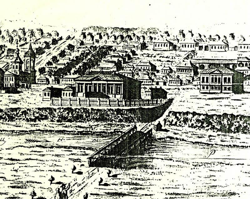 Мост через Цну на гравюре В. Усачева 1799 г.