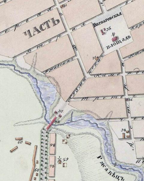 9. Каменный мост на Астраханской дороге через речку Ржавец. Фрагмент плана Тамбова 1832 г
