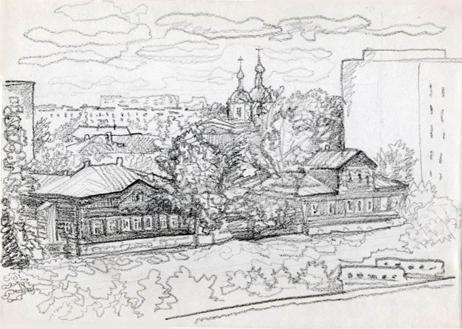 Студенецкая набережная (тогда ул. Катина и Кузнецова). Рисунок А.Климкова. 1980-е гг.