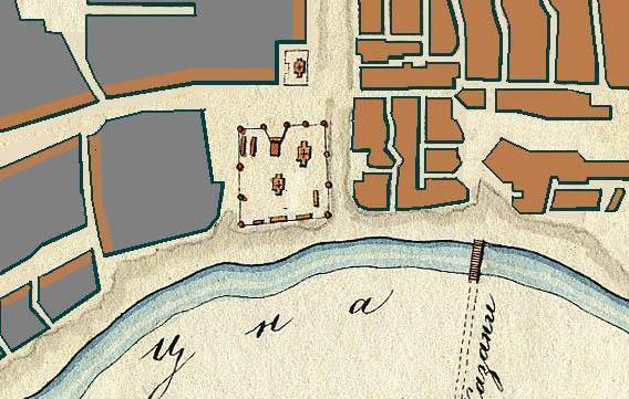 Петропавловская церковь у Казанского монастыря. Фрагмент плана Тамбова 1781 г.