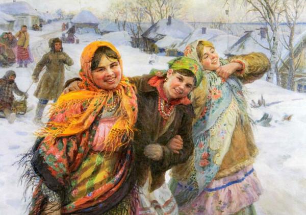 праздничный день. подруги. зима. 1941