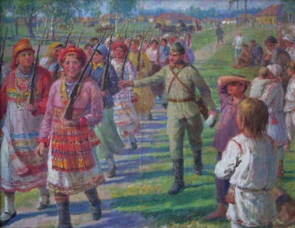 девушки Мордовской АССР изучают военное дело. 1942