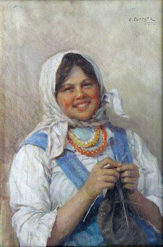 Настя за вязанием 1925