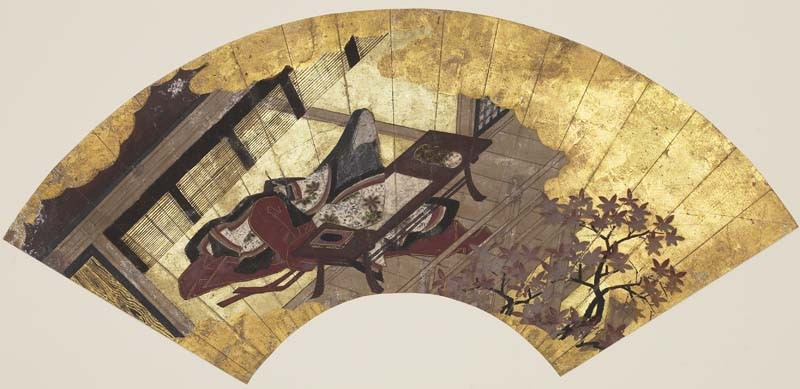 'Lady_Murasaki',_anonymous_ink,_color_and_gold_paper_fan,_17th_century_Japan