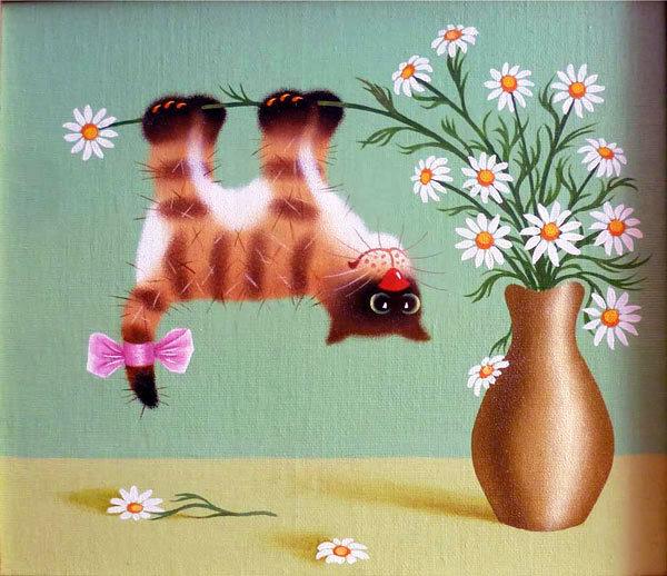 Открытка с котом и цветами 168