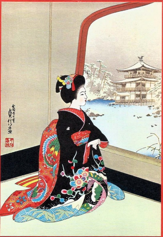 Открытки японские новогодние